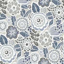 2903-25864 Lucy Grey Floral Wallpaper | The Fabric Co