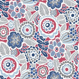 2903-25868 Lucy Red Floral Wallpaper | The Fabric Co