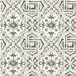 2904-12331 Sonoma Charcoal Spanish Tile Wallpaper   Brewster   The Fabric Co