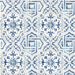 2904-12332 Sonoma Navy Spanish Tile Wallpaper | Brewster | The Fabric Co