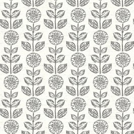 2904-13511 Dolly Dark Brown Folk Floral Wallpaper   Brewster   The Fabric Co
