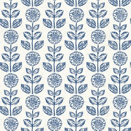 2904-13512 Dolly Navy Folk Floral Wallpaper | Brewster | The Fabric Co
