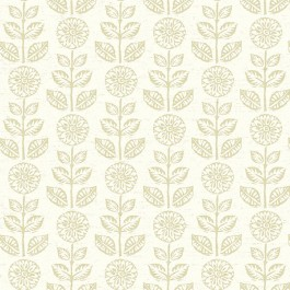 2904-13513 Dolly Neutral Folk Floral Wallpaper | Brewster | The Fabric Co