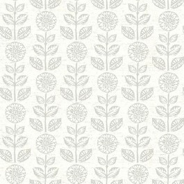2904-13514 Dolly Taupe Folk Floral Wallpaper | Brewster | The Fabric Co