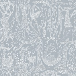 2904-1765 Poem D'Amour Slate Folk Wallpaper | Brewster | The Fabric Co