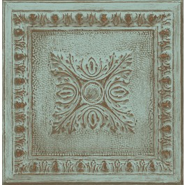 2904-24032 Hazley Turquoise Ornamental Tin Tile Wallpaper   Brewster   The Fabric Co