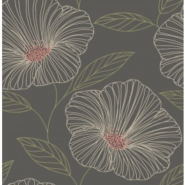 2904-24319 Mythic Brown Floral Wallpaper | Brewster | The Fabric Co