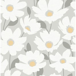 2904-25674 Astera Grey Floral Wallpaper   Brewster   The Fabric Co