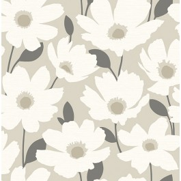 2904-25675 Astera Beige Floral Wallpaper   Brewster   The Fabric Co