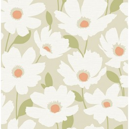 2904-25676 Astera Neutral Floral Wallpaper | Brewster | The Fabric Co