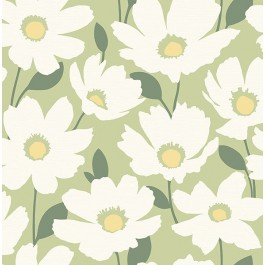 2904-25677 Astera Green Floral Wallpaper | Brewster | The Fabric Co