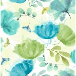 2904-25678 Zahra Turquoise Floral Wallpaper   Brewster   The Fabric Co