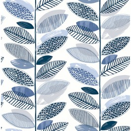 2904-25682 Nyssa Blue Leaves Wallpaper | Brewster | The Fabric Co