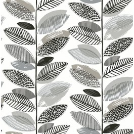 2904-25683 Nyssa Grey Leaves Wallpaper   Brewster   The Fabric Co