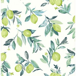 2904-25685 Limon Green Fruit Wallpaper   Brewster   The Fabric Co