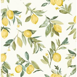 2904-25687 Limon Yellow Fruit Wallpaper | Brewster | The Fabric Co