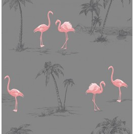 2904-41239SW Sanibel Taupe Flamingo Wallpaper   Brewster   The Fabric Co