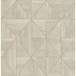 2908-25324 Cheverny Cream Geometric Wood Wallpaper | The Fabric Co