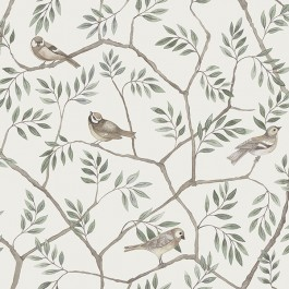 2948-27015 Crossbill Off-White Branches Wallpaper | The Fabric Co