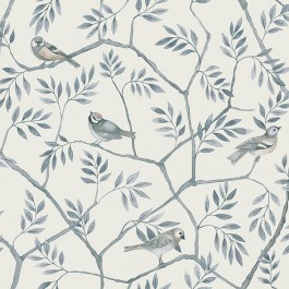 2948-27016 Crossbill Light Blue Branches Wallpaper | The Fabric Co