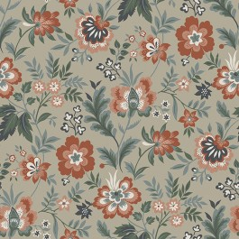 2948-28001 Athena Beige Floral Wallpaper   The Fabric Co