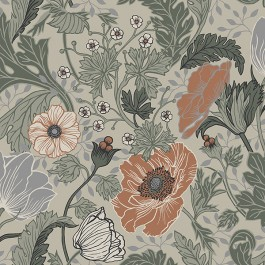 2948-33001 Anemone Grey Floral Wallpaper | The Fabric Co