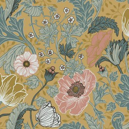 2948-33002 Anemone Mustard Floral Wallpaper | The Fabric Co