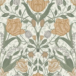 2948-33006 Tulipa Green Floral Wallpaper   The Fabric Co