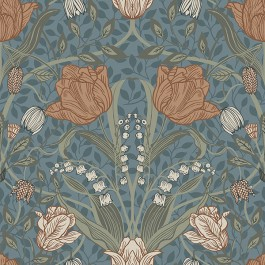 2948-33009 Tulipa Blue Floral Wallpaper | The Fabric Co