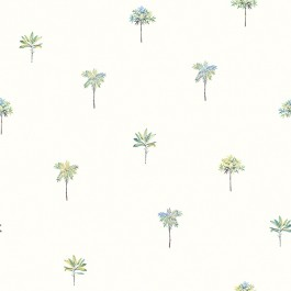 3113-12062 Palmetto Teal Leaves Wallpaper