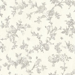 3119-02193 French Nightingale Taupe Floral Scroll Wallpaper   The Fabric Co