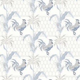 3119-13023 Hank Blue Rooster Wallpaper | The Fabric Co