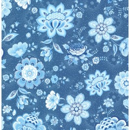 341013 Kali Dark Blue Folklore Chintz Wallpaper