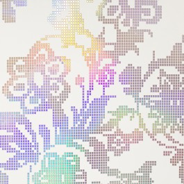 341740 Sadira Beige Pixelated Modern Floral Wallpaper