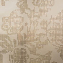 341741 Sadira Brass Pixelated Modern Floral Wallpaper