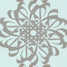 341781 Hazar Afsan Aquamarine Modern Medallion Wallpaper