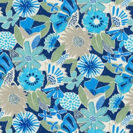 Catchin' Rays Cobalt Blue Large Floral PKL Studio Outdoor Fabric