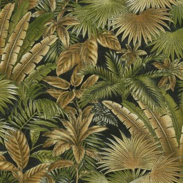 Bahamian Breeze Coal Black Botanical Leaves Tommy Bahama Outdoor Fabric