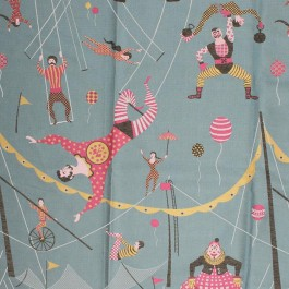 Circus Friends Teal RM Coco Fabric   The Fabric Co