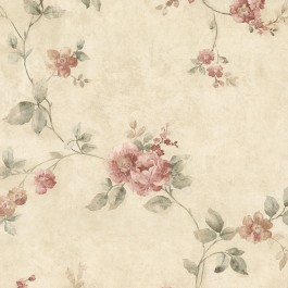 992-62701 Mary Salmon Floral Vine Wallpaper