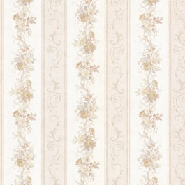992-68302 Lorelai Taupe Floral Stripe Wallpaper