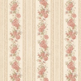 992-68316 Tasha Peach Satin Floral Scroll Stripe Wallpaper