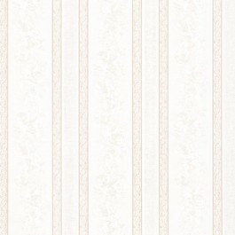 992-68322 Trish White Satin Floral Scroll Stripe Wallpaper