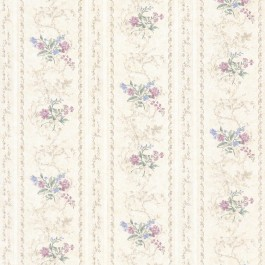 992-68333 Maury Purple Floral Bouquet Stripe Wallpaper