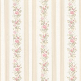 992-68352 Alexis Pink Satin Floral Stripe Wallpaper