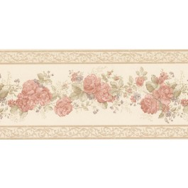 992B07566 Tiff Peach Satin Floral Border