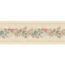 992B07573 Alexa Beige Floral Meadow Border