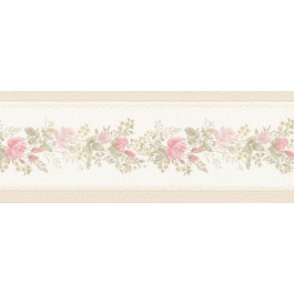 992B07574 Alexa Pink Floral Meadow Border