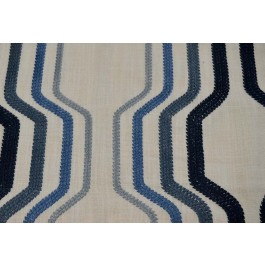 A Cut Above Ocean Dark Blue Embroidered Geometric Drapery Swavelle Mill Creek Fabric