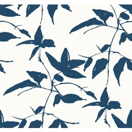AF6510 Blue, White Persimmon Leaf Wallpaper   The Fabric Co